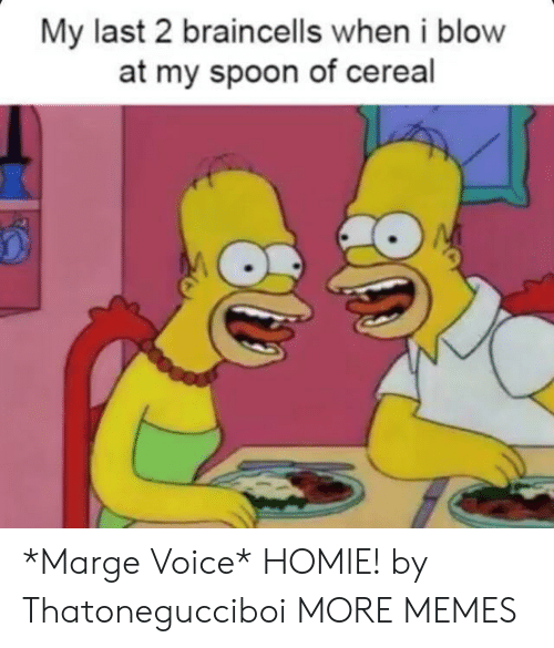 Dank, Homie, and Memes: My last 2 braincells when i blow  at my spoon of cereal *Marge Voice* HOMIE! by Thatonegucciboi MORE MEMES
