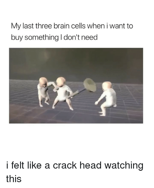 Head, Brain, and Girl Memes: My last three brain cells when i want to  buy something I don't need i felt like a crack head watching this