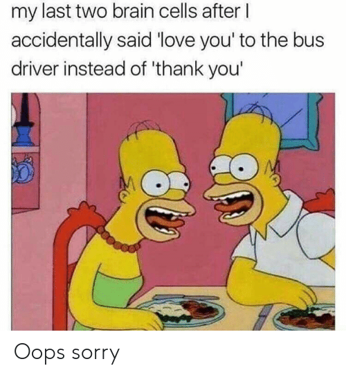 Love, Reddit, and Sorry: my last two brain cells after I  accidentally said 'love you' to the bus  driver instead of 'thank you' Oops sorry
