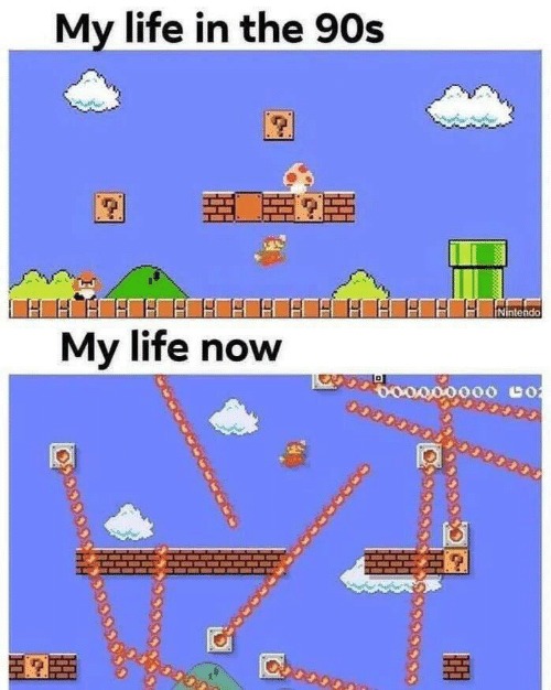 Life, Nintendo, and 90's: My life in the 90s  Nintendo  My life now  o000000 co