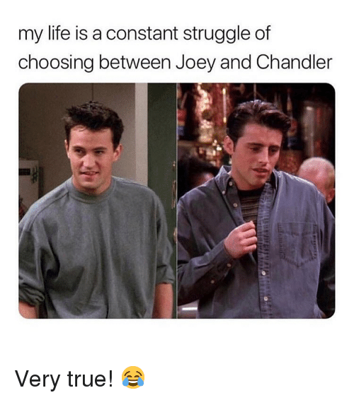 Life, Memes, and Struggle: my life is a constant struggle of  choosing between Joey and Chandler Very true! 😂