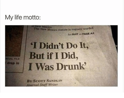 "Didly: My life motto:  New Mexico.  New Mexico  statute is vaguely worded  The see sum on  PAGE A2  ""I Didn't Do It,  But if I Did  RNAL FILE  drop in  I Was Drunk""  BY SCOTT SANDLIN  lournal Staff Writer"