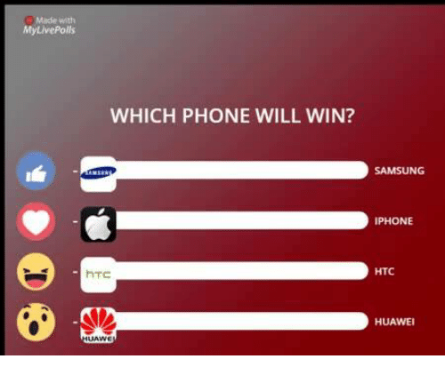 iphon: My LivePolls  WHICH PHONE WILL WIN?  hTC  SAMSUNG  IPHONE  HTC  HUAWEI