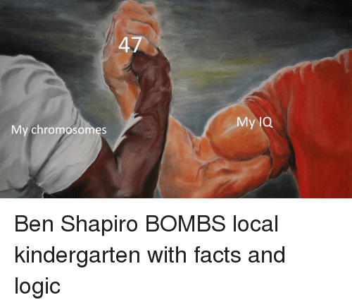 Facts, Logic, and Local: My lQ  My chromosomes Ben Shapiro BOMBS local kindergarten with facts and logic
