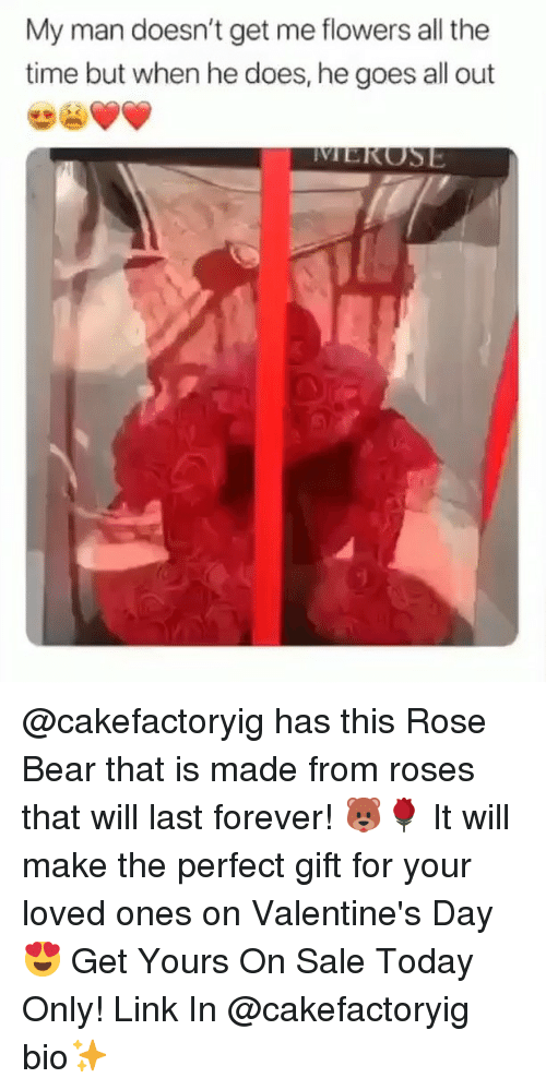 Valentine's Day, Bear, and Flowers: My man doesn't get me flowers all the  time but when he does, he goes all out @cakefactoryig has this Rose Bear that is made from roses that will last forever! 🐻🌹 It will make the perfect gift for your loved ones on Valentine's Day 😍 Get Yours On Sale Today Only! Link In @cakefactoryig bio✨