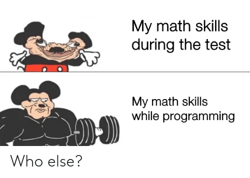 Math: My math skills  during the test  My math skills  while programming Who else?