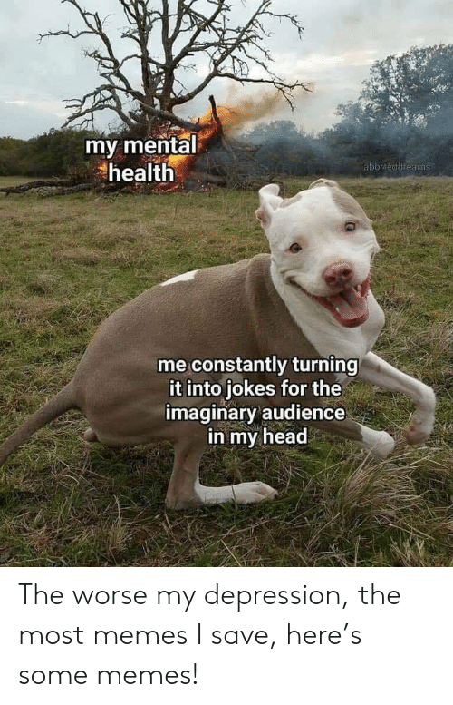 Head, Memes, and Depression: my mental  health  aborteddreams  me constantly turning  it into jokes for the  imaginary audience  in my head The worse my depression, the most memes I save, here's some memes!