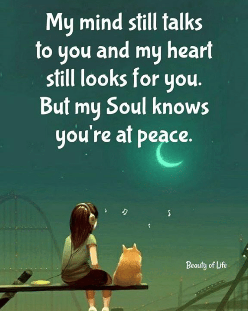 Life, Memes, and Heart: My mind still talks  to you and my heart  still looks for you  But my Soul knows  you're at peace.  JT  Beauty of Life