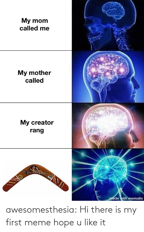 Meme, Tumblr, and Blog: My mom  called me  My mother  called  My creator  rang  ఫా  made with mematic awesomesthesia:  Hi there is my first meme hope u like it