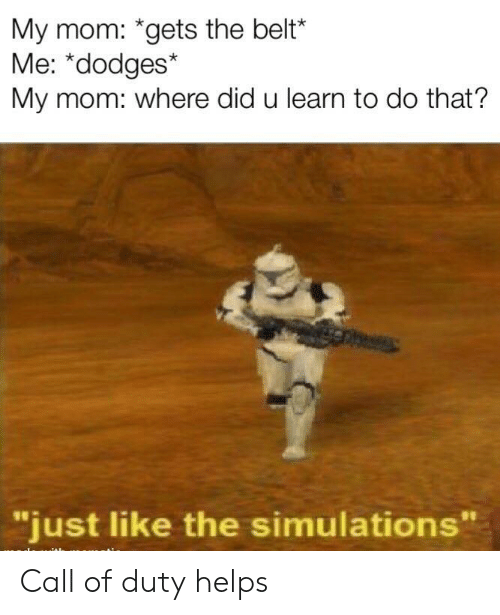 "Call of Duty, Helps, and Mom: My mom: *gets the belt*  Me: *dodges*  My mom: where did u learn to do that?  ""just like the simulations Call of duty helps"