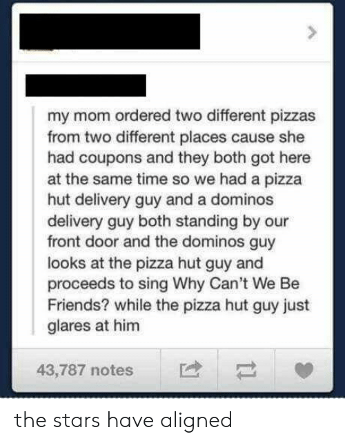 Friends, Pizza, and Pizza Hut: my mom ordered two different pizzas  from two different places cause she  had coupons and they both got here  at the same time so we had a pizza  hut delivery guy and a dominos  delivery guy both standing by our  front door and the dominos guy  looks at the pizza hut guy and  proceeds to sing Why Can't We Be  Friends? while the pizza hut guy just  glares at him  43,787 notes the stars have aligned