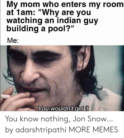 "Dank, Memes, and Target: My mom who enters my room  at 1am: ""Why are you  watching an indian guy  building a pool?""  Me:  You wouldn't get it You know nothing, Jon Snow… by adarshtripathi MORE MEMES"
