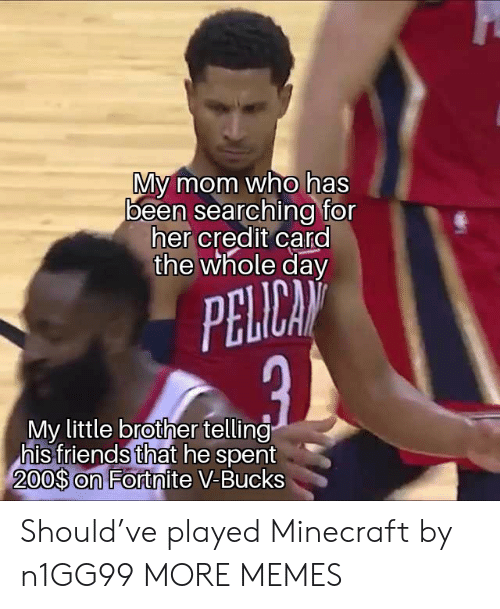 pelican: My mom who has  been searching for  her credit card  the whole day  PELICAN  My little brother telling  his friends that he spent  200$ on Fortnite V-Bucks Should've played Minecraft by n1GG99 MORE MEMES