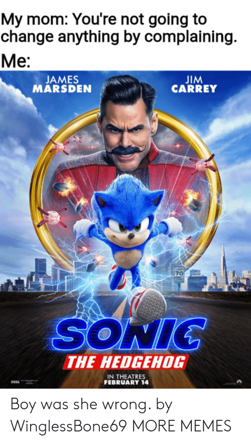 jim: My mom: You're not going to  change anything by complaining  Ме:  JIM  CARREY  JAMES  MARSDEN  PEE  70  SONIC  THE HEDGEHOG  IN THEATRES  FEBRUARY 14 Boy was she wrong. by WinglessBone69 MORE MEMES