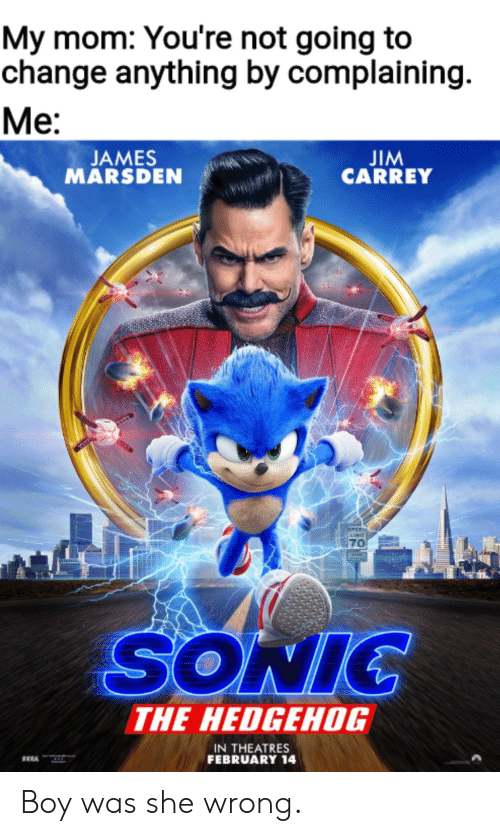 jim: My mom: You're not going to  change anything by complaining  Ме:  JIM  CARREY  JAMES  MARSDEN  PEE  70  SONIC  THE HEDGEHOG  IN THEATRES  FEBRUARY 14 Boy was she wrong.