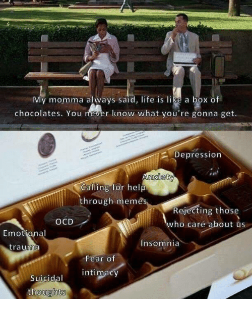 Life, Memes, and Depression: My momma always said, life is like a box of  chocolates. You never know what you're gonna get.  2 Depression  Calling for help  through memes  Rejecting those  who care about us  OCD  Emotional  trauma  Insomnia  Fear o  Suicidal intimacy  thoughts