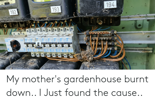 Mothers: My mother's gardenhouse burnt down.. I Just found the cause..