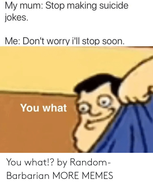 Dont Worry: My mum: Stop making suicide  jokes.  Me: Don't worry i'll stop soon.  You what You what!? by Random-Barbarian MORE MEMES