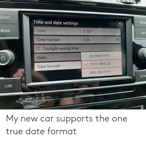 My New: My new car supports the one true date format