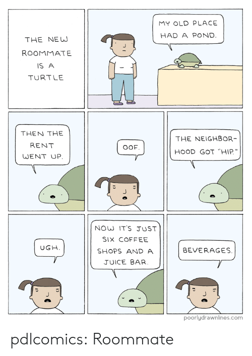 "Pond: MY OLD PLACE  HAD A POND.  THE NEW  ROOMMATE  IS A  TURTLE  THEN THE  THE NEIGHBOR  RENT  OOF  HOOD GOT ""HIP.  WENT UP  NOW IT'S JUST  SIX COFFEE  UGH  BEVERAGES.  SHOPS AND A  JUICE BAR  poorlydrawnlines.com pdlcomics:  Roommate"