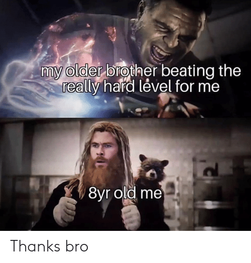 Dank, Old, and 🤖: my older brother beating the  really hard lével for me  8yr old me Thanks bro