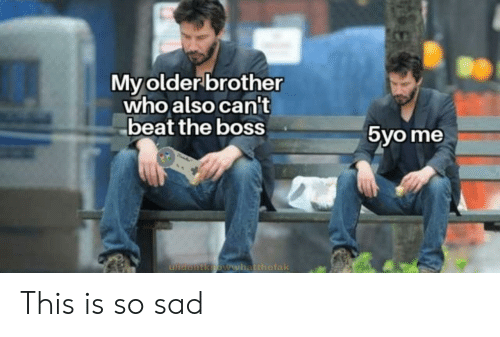 So Sad: My older brother  who also can't  beat the boss  5yo me  ulidontknoww.hatthefak This is so sad