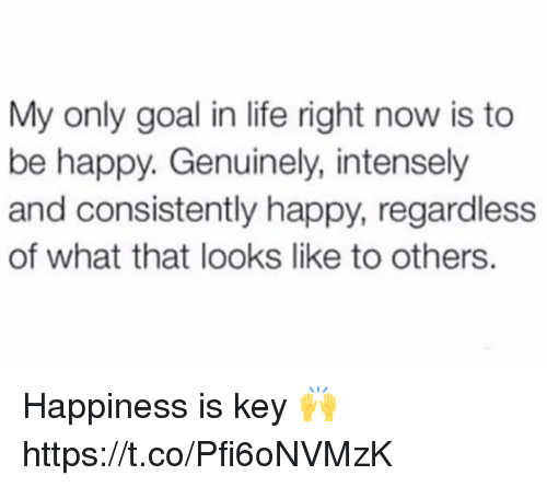 Life, Goal, and Happy: My only goal in life right now is to  be happy. Genuinely, intensely  and consistently happy, regardless  of what that looks like to others. Happiness is key 🙌 https://t.co/Pfi6oNVMzK