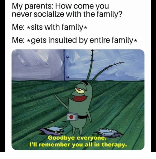 Family, Funny, and Parents: My parents: How come you  never socialize with the family?  Me: *sits with family*  Me: gets insulted by entire family*  Goodbye everyone.  I'll remember you all in therapy.
