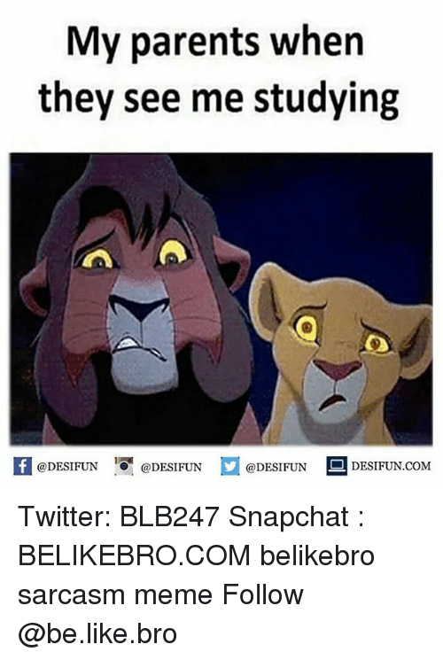 Snapchater: My parents when  they see me studying  @DESIFUN  @DESIFUN  @DESIFUN  DESIFUN COM Twitter: BLB247 Snapchat : BELIKEBRO.COM belikebro sarcasm meme Follow @be.like.bro