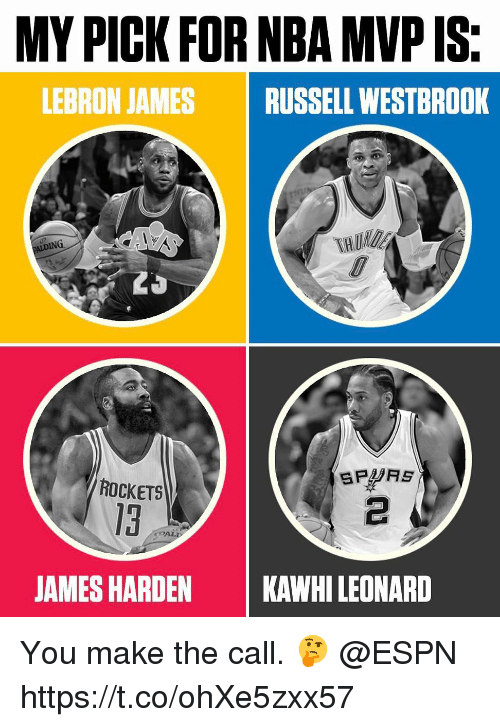 Espn, James Harden, and LeBron James: MY PICK FOR NBA MVP IS.  LEBRON JAMES RUSSELL WESTBROOK  ING  SPURS  ROCKETS  JAMES HARDEN  KAWHILEONARD You make the call. 🤔 @ESPN https://t.co/ohXe5zxx57