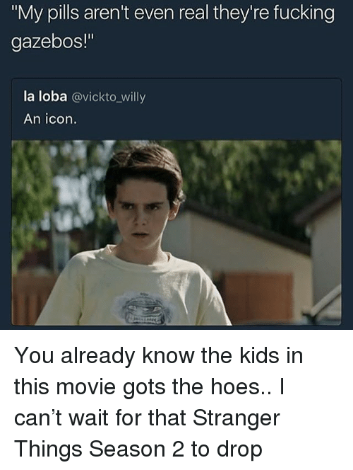"gots: ""My pills aren't even real they're fucking  gazebos!""  la loba @vickto_willy  An icon. You already know the kids in this movie gots the hoes.. I can't wait for that Stranger Things Season 2 to drop"