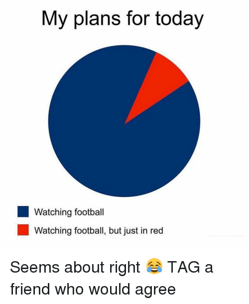 tag a friend who: My plans for today  Watching football  Watching football, but just in red Seems about right 😂 TAG a friend who would agree