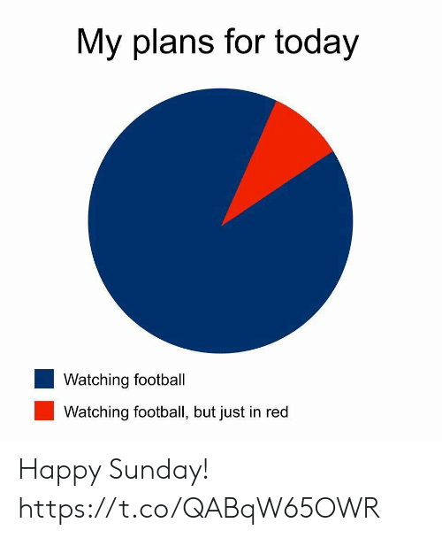 Football, Nfl, and Sports: My plans for today  Watching football  Watching football, but just in red Happy Sunday! https://t.co/QABqW65OWR