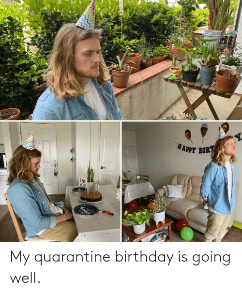 well: My quarantine birthday is going well.