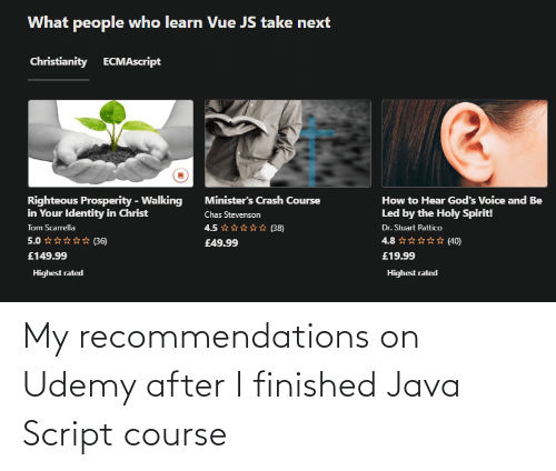 Java: My recommendations on Udemy after I finished Java Script course