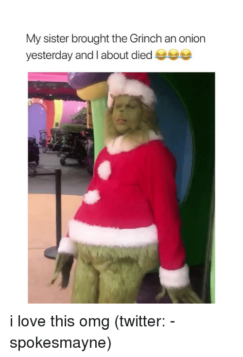 The Grinch, Love, and Omg: My sister brought the Grinch an onion  yesterday and I about died i love this omg (twitter: -spokesmayne)
