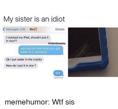 my ipad: My sister is an idiot  KMessages (29) Sis!  Details  I cracked my iPad, should I put it  in rice??  @bOmbtweets  you only do that when you get  water in it, dumbass  Ok I put water in the cracks  Now do I put it in rice?  Wtf  Deliverecd memehumor:  Wtf sis