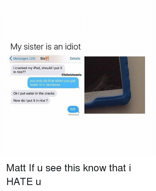 Ipad, Memes, and Wtf: My sister is an idiot  Messages (29)  Sis!  Details  I cracked my iPad, should I put it  in rice??  @bOmbtweets  you only do that when you get  water in it, dumbass  Ok I put water in the cracks  Now do I put it in rice?  Wtf  Delivered Matt If u see this know that i HATE u