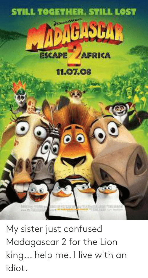 Lion King: My sister just confused Madagascar 2 for the Lion king... help me. I live with an idiot.