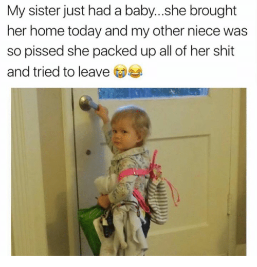 Memes, Shit, and Home: My sister just had a baby...she brought  her home today and my other niece was  so pissed she packed up all of her  and tried to leave  shit