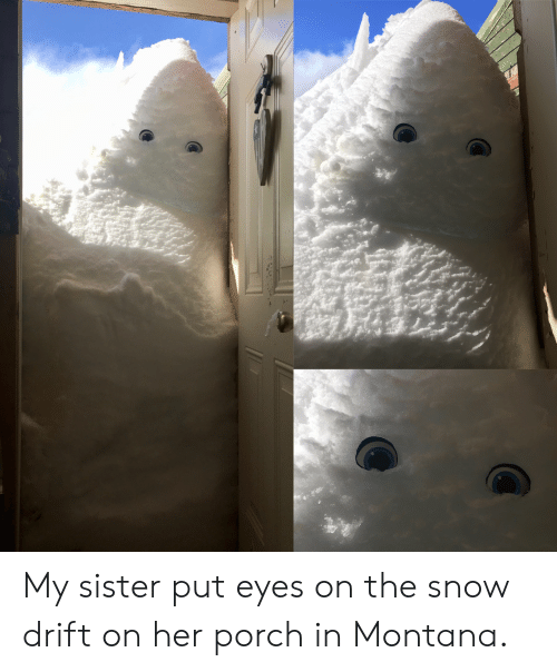 Porch: My sister put eyes on the snow drift on her porch in Montana.