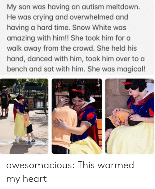 Crying, Snow White, and Tumblr: My son was having an autism meltdown.  He was crying and overwhelmed and  having a hard time. Snow White was  amazing with him!! She took him for a  walk away from the crowd. She held his  hand, danced with him, took him over to a  bench and sat with him. She was magical! awesomacious:  This warmed my heart