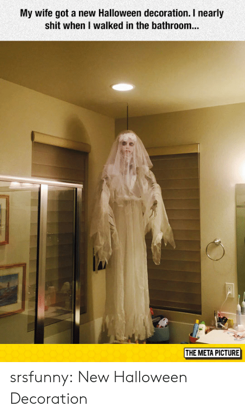 Halloween, Shit, and Tumblr: My wife got a new Halloween decoration. I nearly  shit when I walked in the bathroom...  THE META PICTURE srsfunny:  New Halloween Decoration