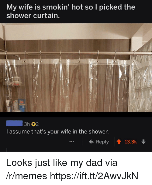 Dad, Memes, and Shower: My wife is smokin' hot so I picked the  shower curtain.  3h 2  l assume that's your wife in the shower  Reply13.3k Looks just like my dad via /r/memes https://ift.tt/2AwvJkN