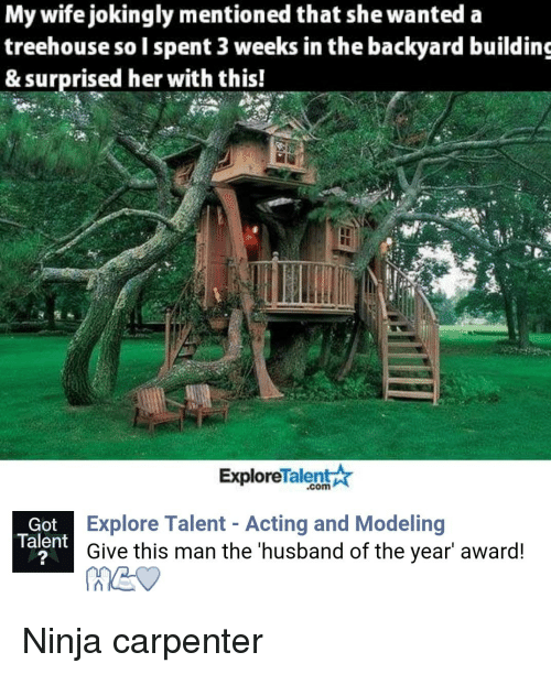 "talent explore: My wife jokingly mentioned that she wanted a  treehouse solspent 3 weeks in the backyard building  & surprised her with this!  Talent  Explore  Explore Talent Acting and Modeling  Got  Talent  Give this man the husband of the year"" award! Ninja carpenter"