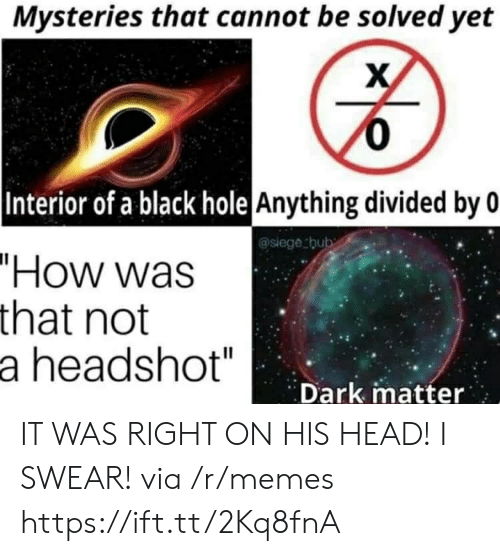"Divided By: Mysteries that cannot be solved yet  0  |Interior of a black hole Anything divided by 0  @siege thub  ""How was  that not  a headshot""  Dark matter IT WAS RIGHT ON HIS HEAD! I SWEAR! via /r/memes https://ift.tt/2Kq8fnA"