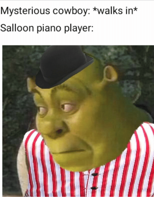 Piano, Cowboy, and Player: Mysterious cowboy: *walks in*  Salloon piano player: