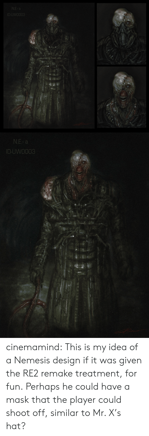Remake: N.E- a  ID-UWO003   N.E- a  ID-UWO003 cinemamind:  This is my idea of a Nemesis design if it was given the RE2 remake treatment, for fun. Perhaps he could have a mask that the player could shoot off, similar to Mr. X's hat?