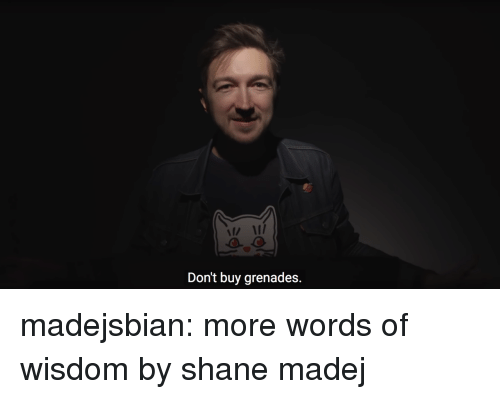 Tumblr, Blog, and Shane: n I  Don't buy grenades. madejsbian:  more words of wisdom by shane madej