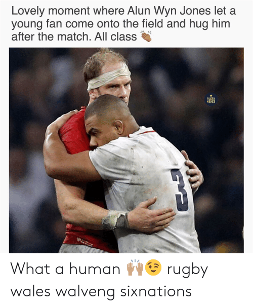 Rugby: n Jones let a  Lovely moment where Alun Wy  young fan come onto the field and hug him  after the match. All class  RUGBY  MEMES What a human 🙌🏽😉 rugby wales walveng sixnations